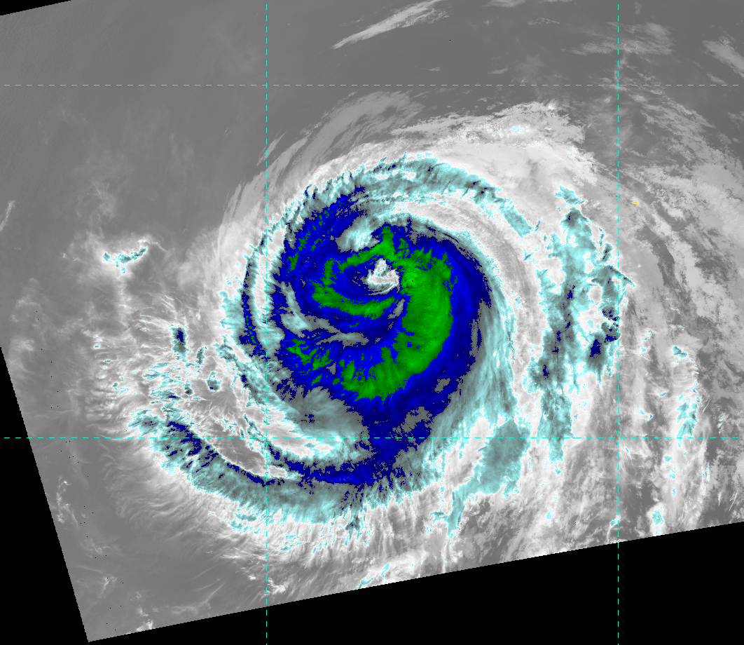 VIIRS IR image (channel I-05) of Hurricane Fabio, taken 20:36 UTC 15 July 2012