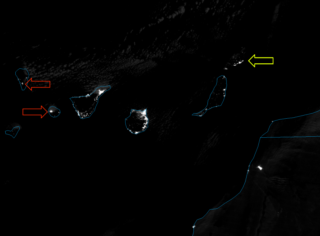VIIRS Day/Night Band image of the Canary Islands, taken 02:25 UTC 6 August 2012