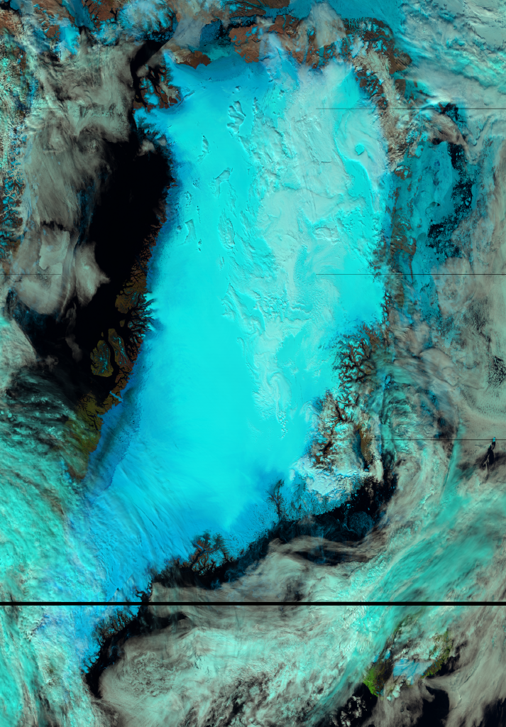 False color RGB composite of VIIRS channels I-01, I-02 and I-03, taken 14:35 UTC 8 July 2012