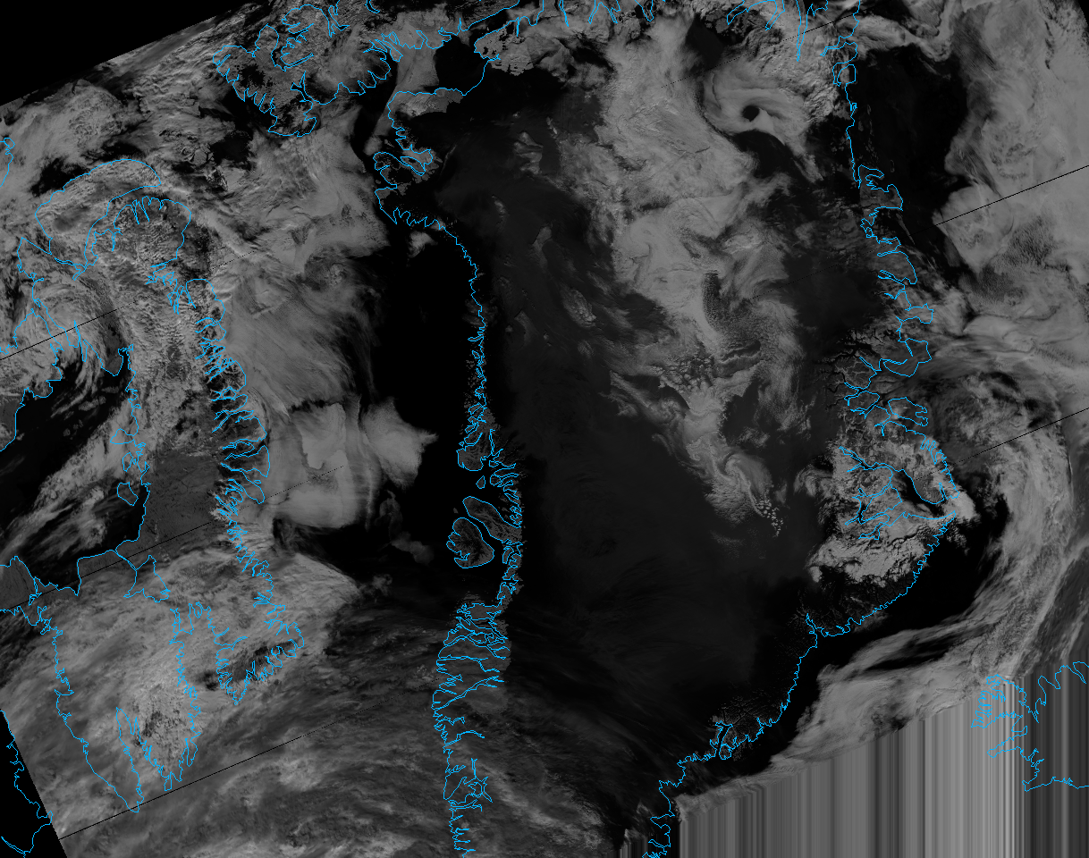 VIIRS channel M-10 reflectance image of Greenland, taken 14:35 UTC 8 July 2012