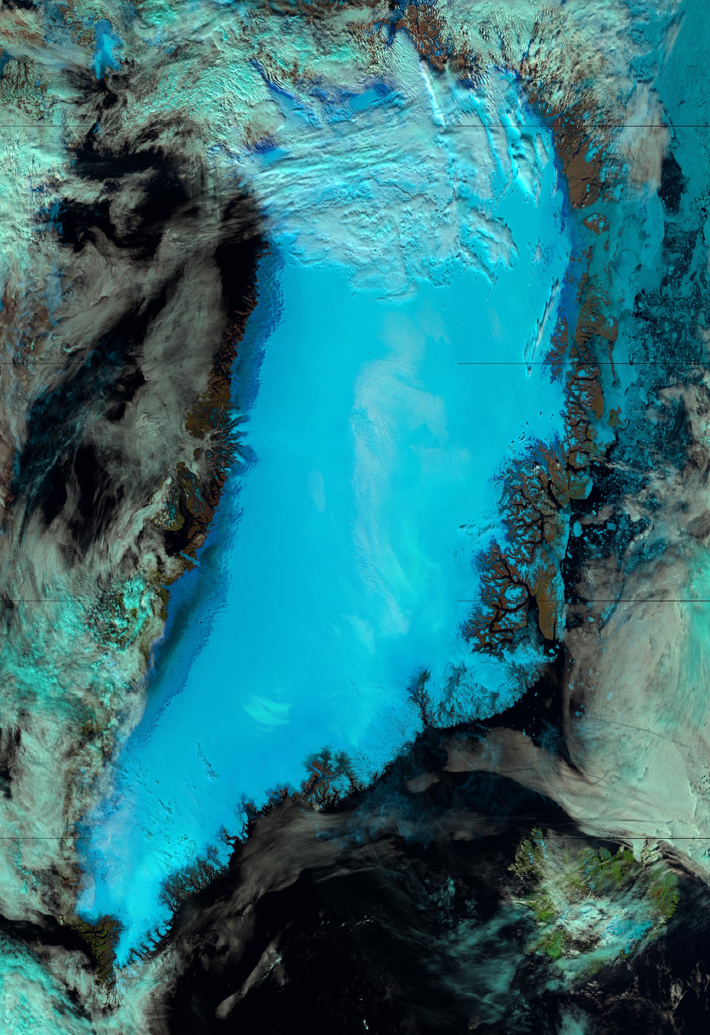 False color RGB composite of VIIRS channels I-01, I-02 and I-03, taken 14:42 UTC, 13 July 2012