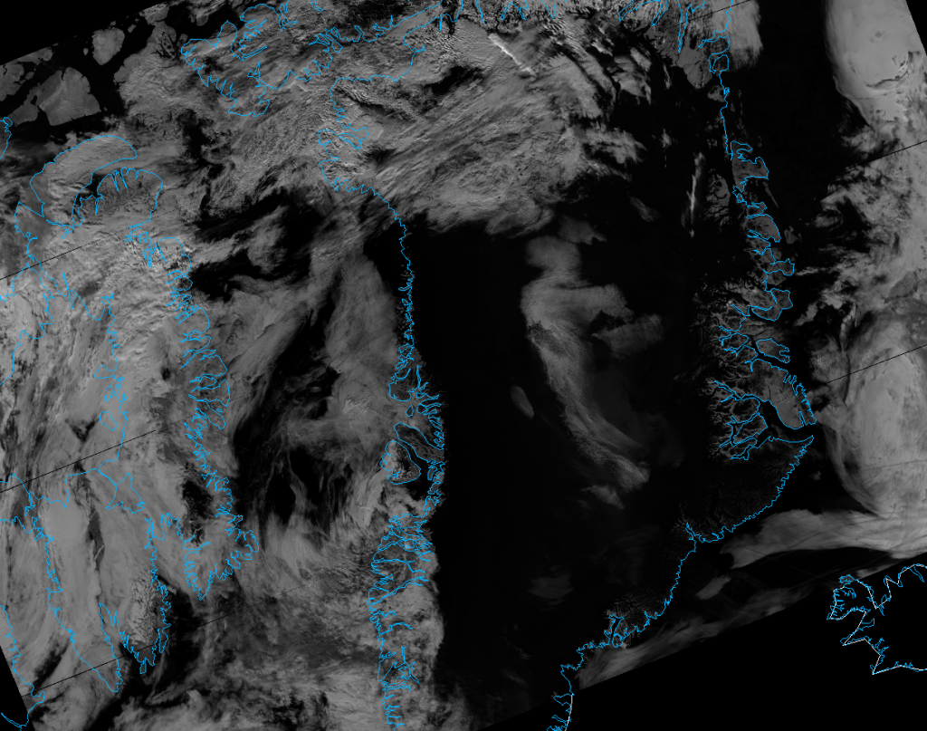 VIIRS M-10 reflectance image of Greenland, taken 14:42 UTC 13 July 2012