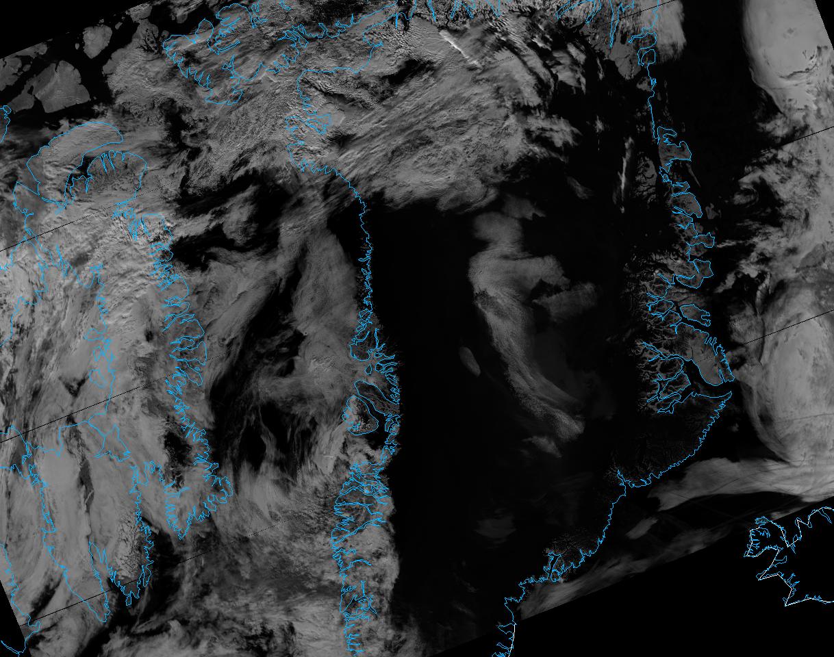 VIIRS M-10 reflectance image of Greenland, taken 14:42 UTC 13 July 2012