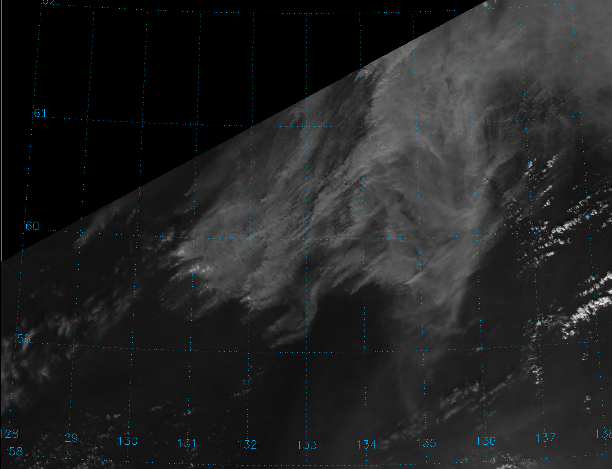 VIIRS channel I-01 image of fires in Siberia, taken 02:38 UTC 4 August 2012
