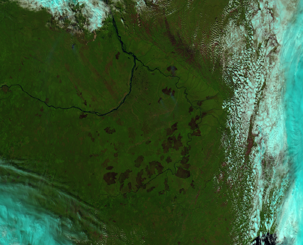 "False color (or ""pseudo-true color"") image of fires in Siberia from VIIRS channels I-01, I-02 and I03, taken 03:22 UTC 7 August 2012"