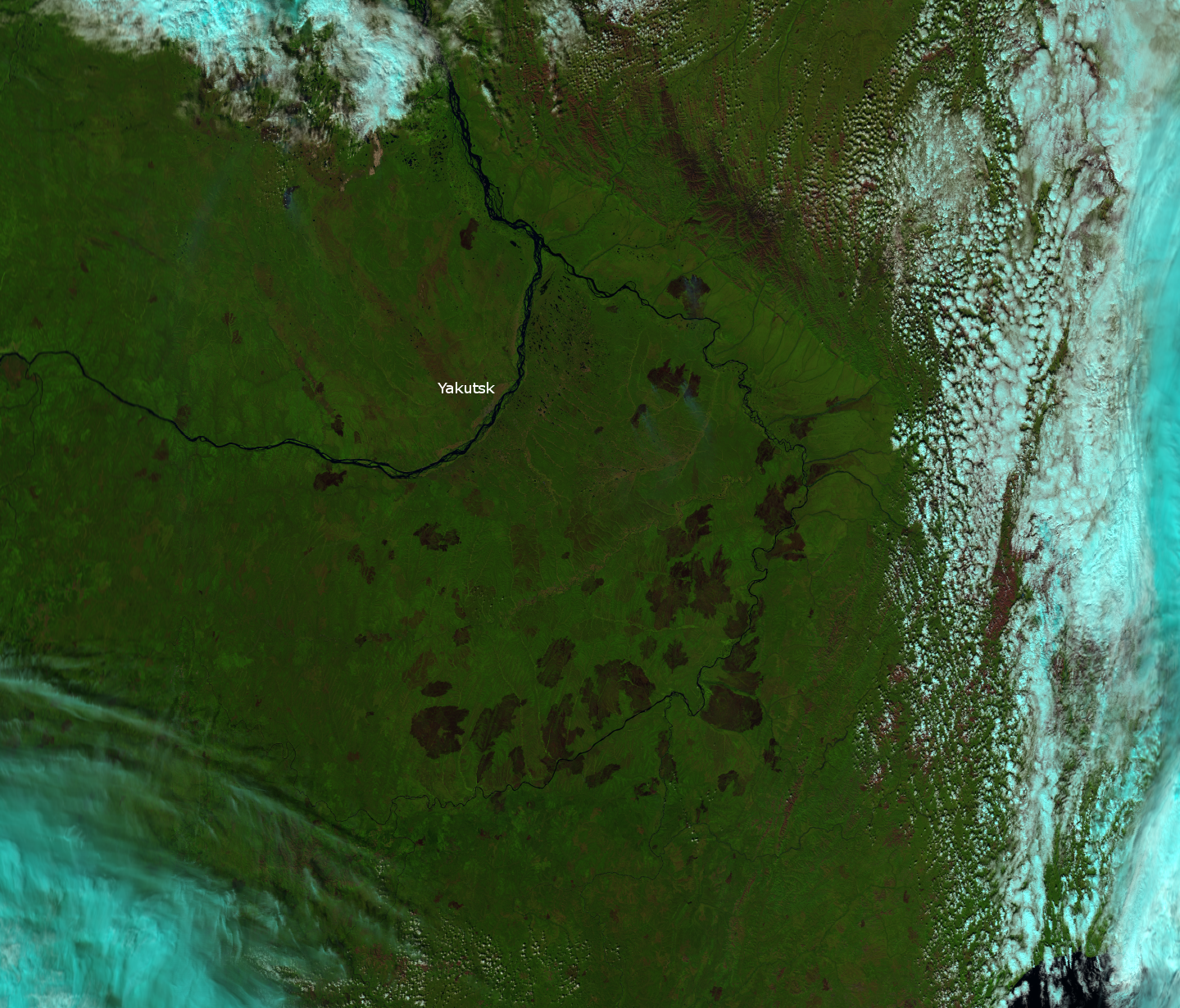 """""""Pseudo-true color"""" composite of VIIRS channels M-5, M-7 and M-10 of fires in Siberia, taken 03:22 UTC 7 August 2012"""
