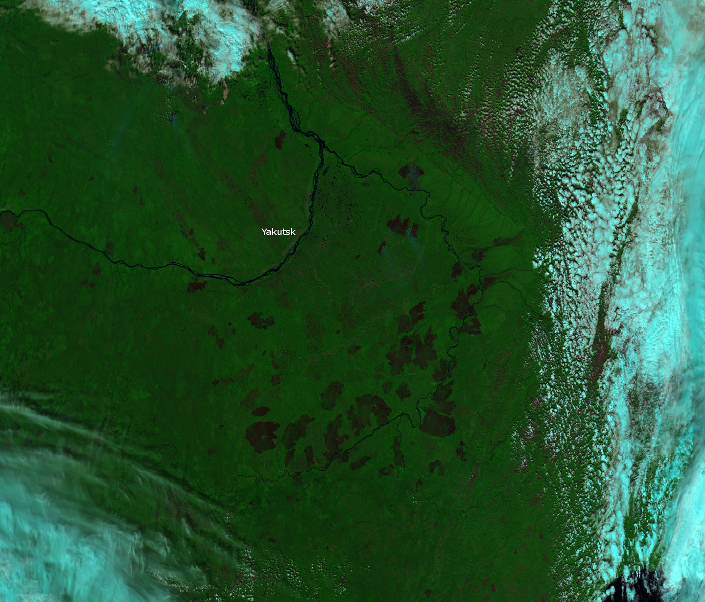 False color RGB composite of VIIRS channels M-5, M-7 and M-11, taken 03:22 UTC 7 August 2012