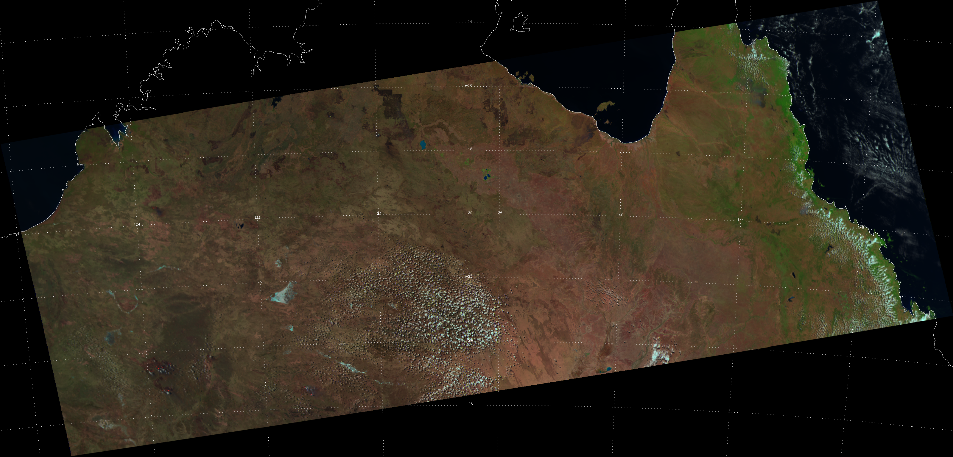 False-color RGB composite of VIIRS channels M-05, M-07 and M-10, taken 04:34 UTC 19 September 2012
