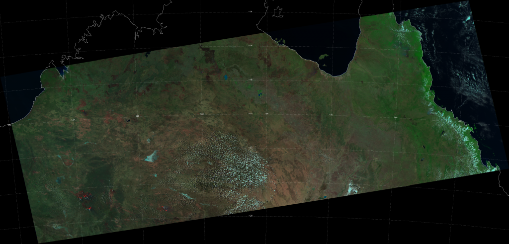 False-color RGB composite of VIIRS channels M-05, M-07 and M-11, taken 04:34 UTC 19 September 2012