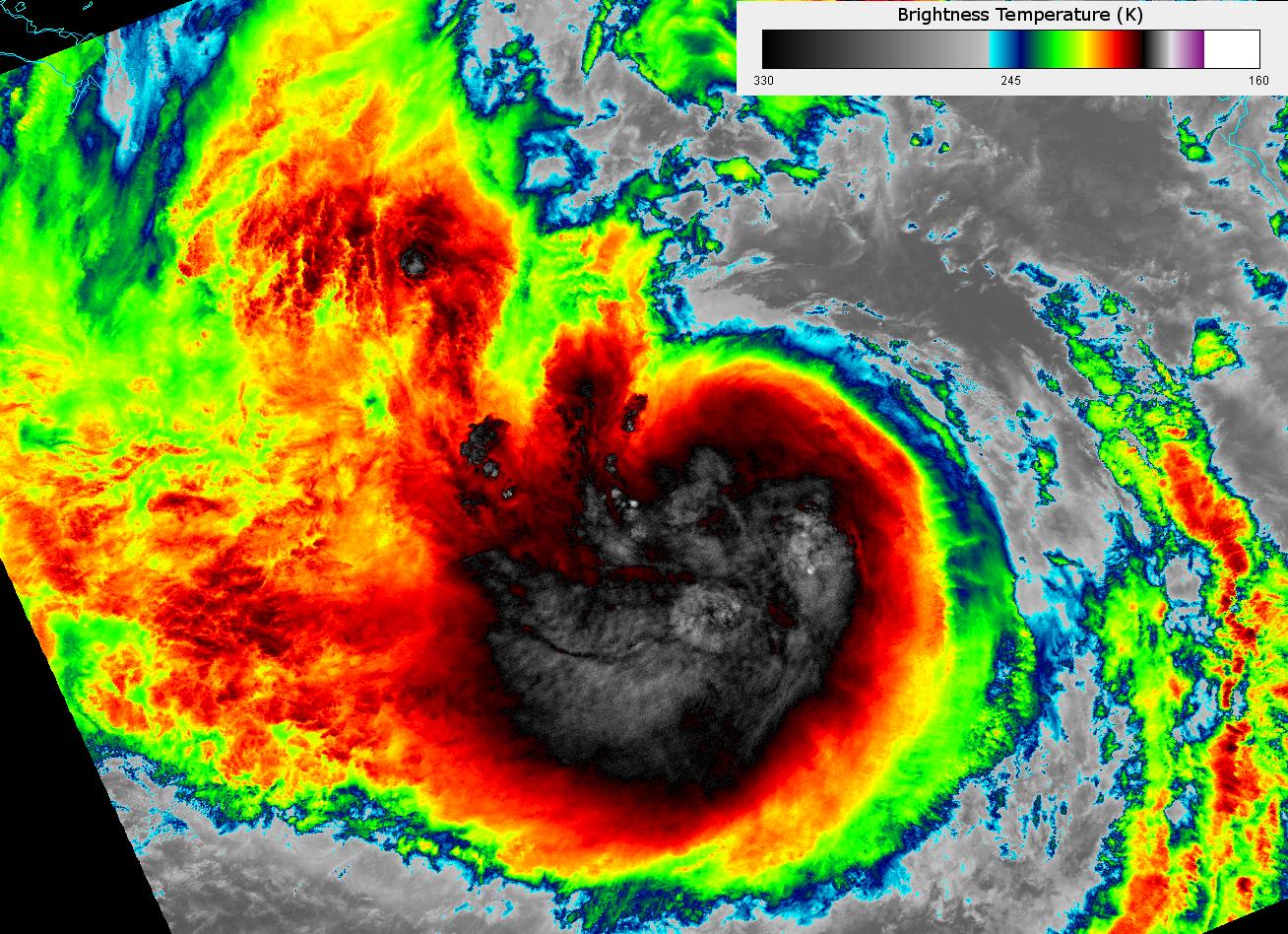VIIRS I-05 image of Tropical Storm Isaac, taken 18:50 UTC 27 August 2012