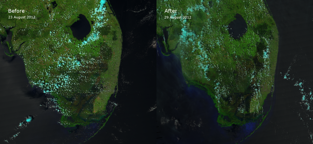 False color RGB composite of VIIRS channels I-01, I-02 and I-03 taken before and after Tropical Storm Isaac (2012)