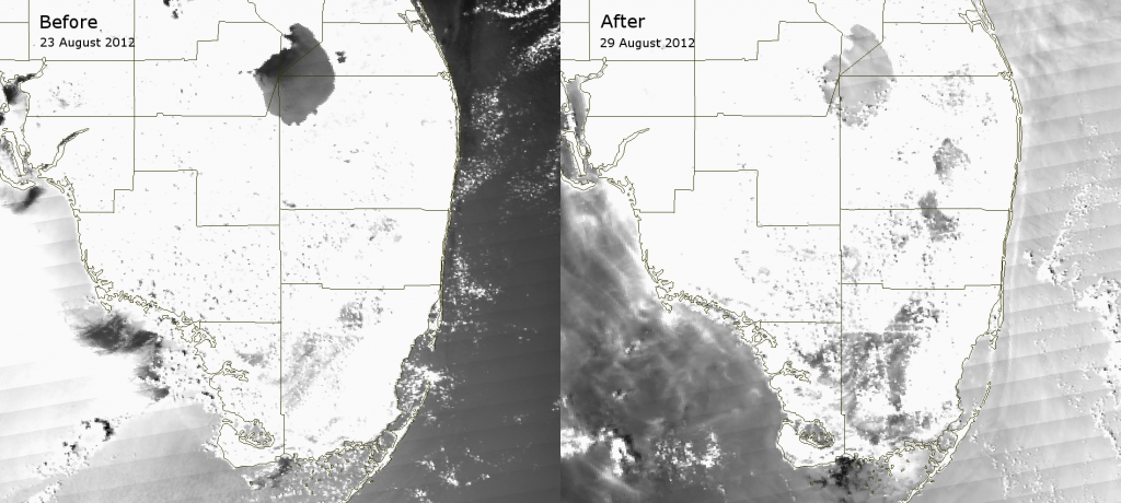 VIIRS channel M-06 images of southern Florida taken before and after Tropical Storm Isaac (2012)