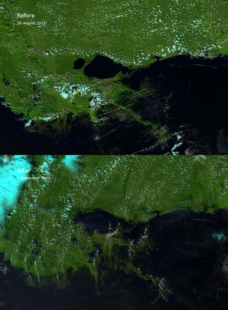 False color RGB composites of VIIRS channels I-01, I-02 and I-03 of southeast Louisiana