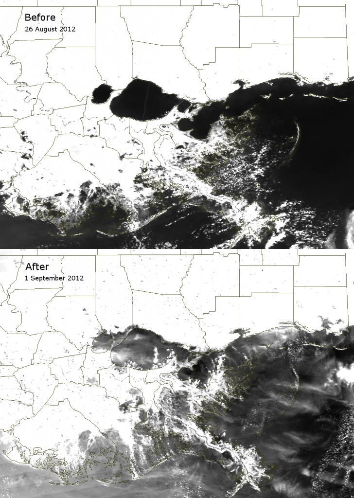 VIIRS channel M-06 images of southeastern Louisiana taken before and after Hurricane Isaac (2012)
