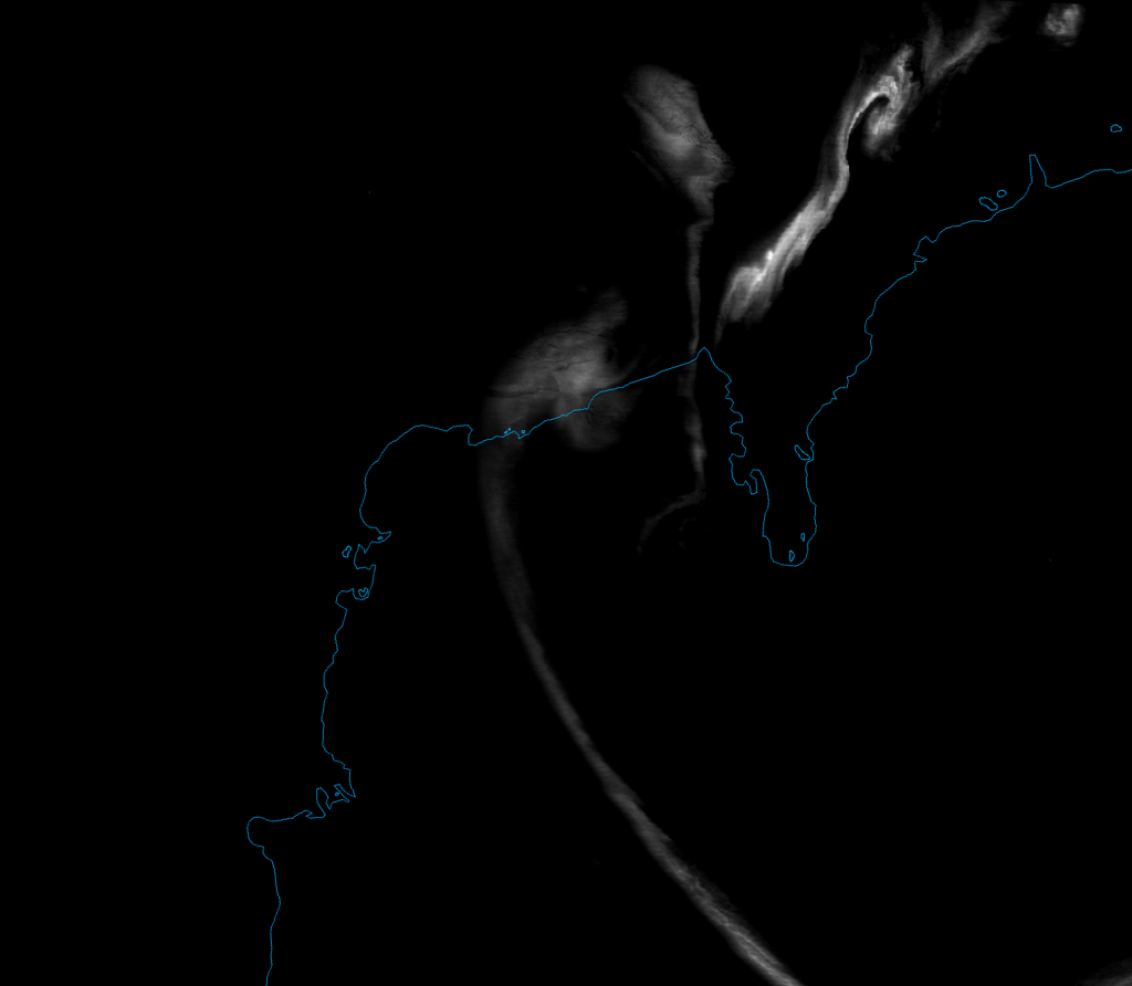 VIIRS DNB image of the aurora australis over Antarctica, taken 18:56 UTC 15 September 2012