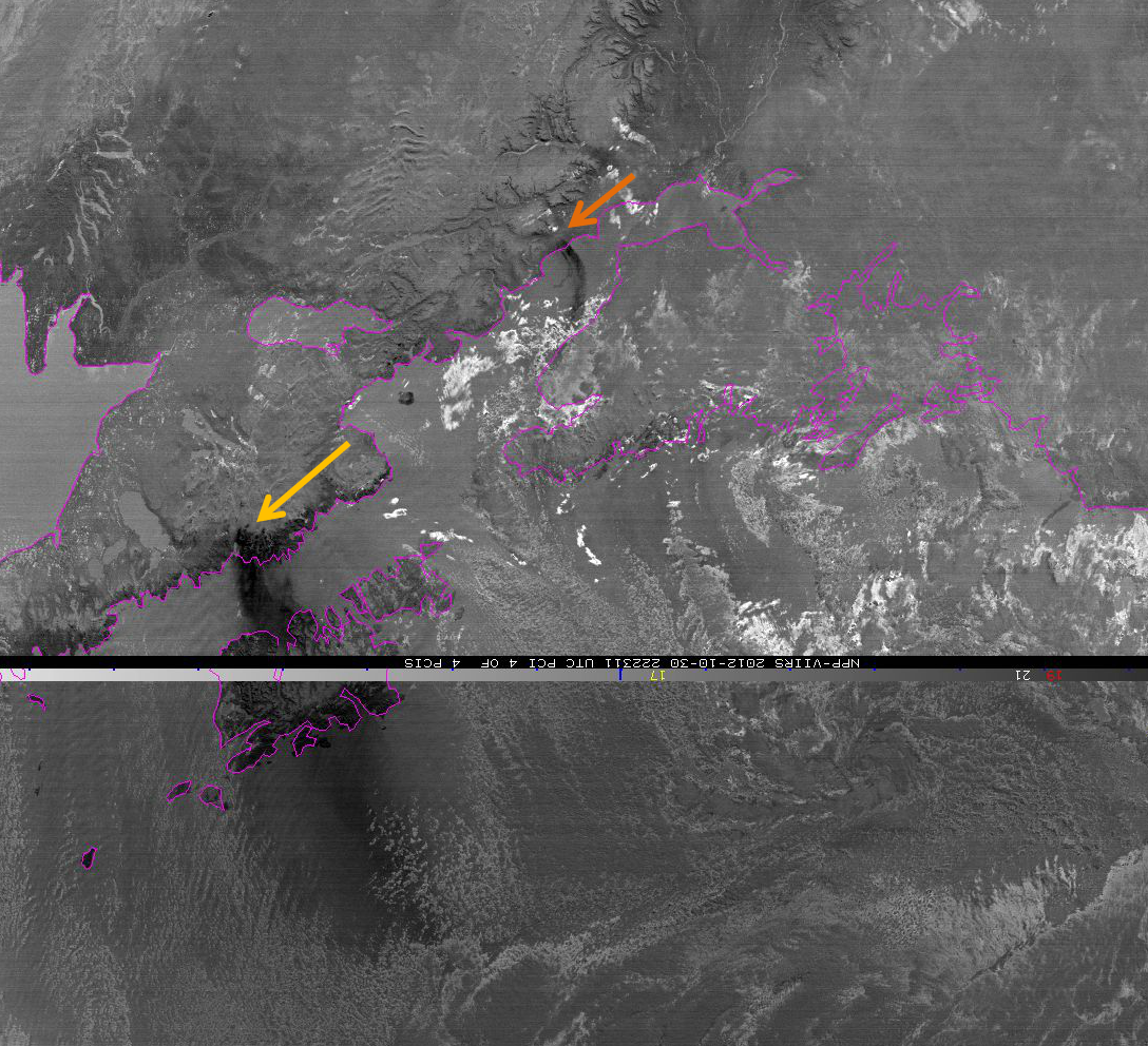 VIIRS PCI analysis image from 22:23 UTC 30 October 2012