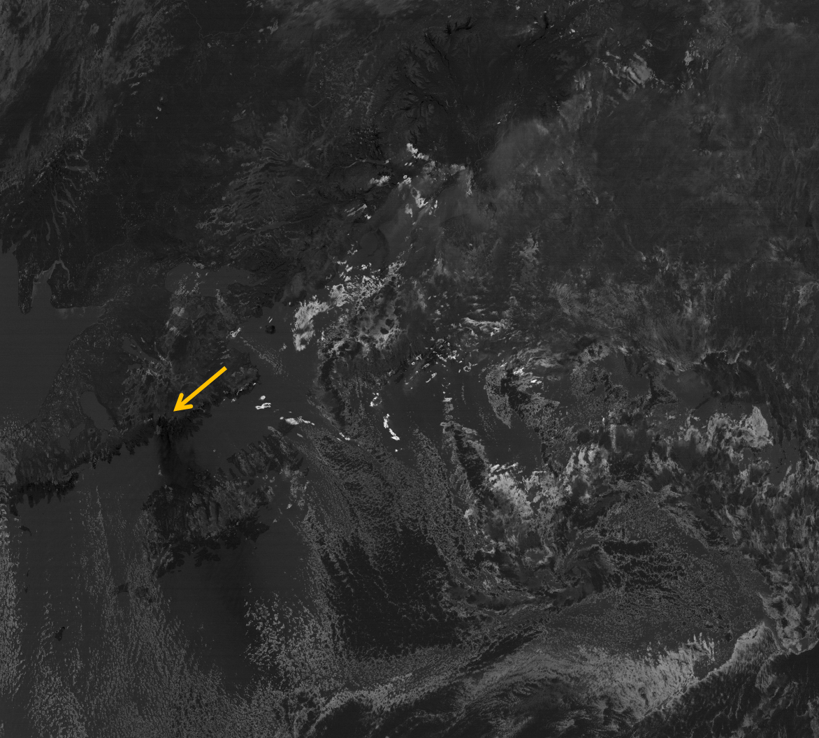 """VIIRS """"Split-window difference"""" image from 22:23 UTC 30 October 2012"""