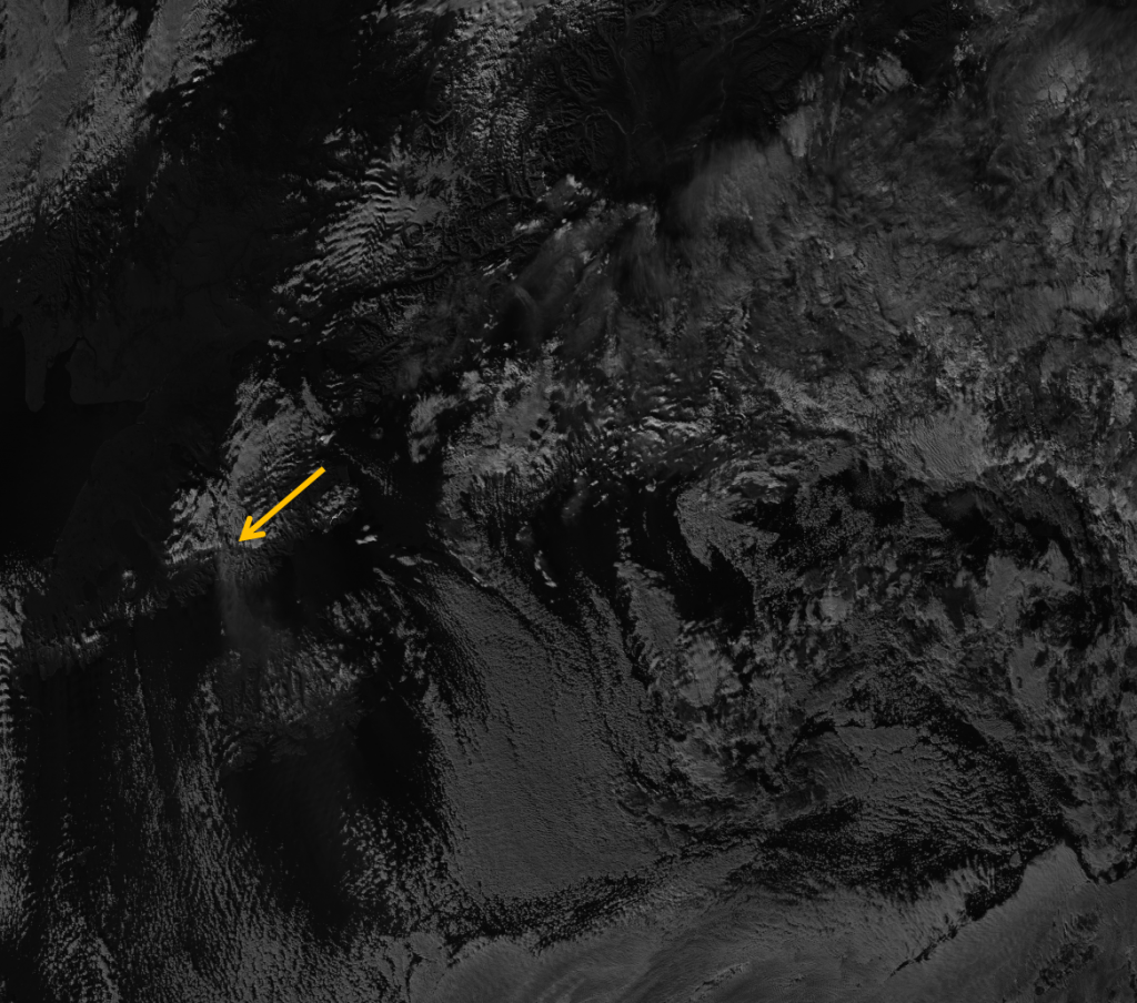 VIIRS channel difference image between M-12 and M-15 from 22:23 UTC 30 October 2012