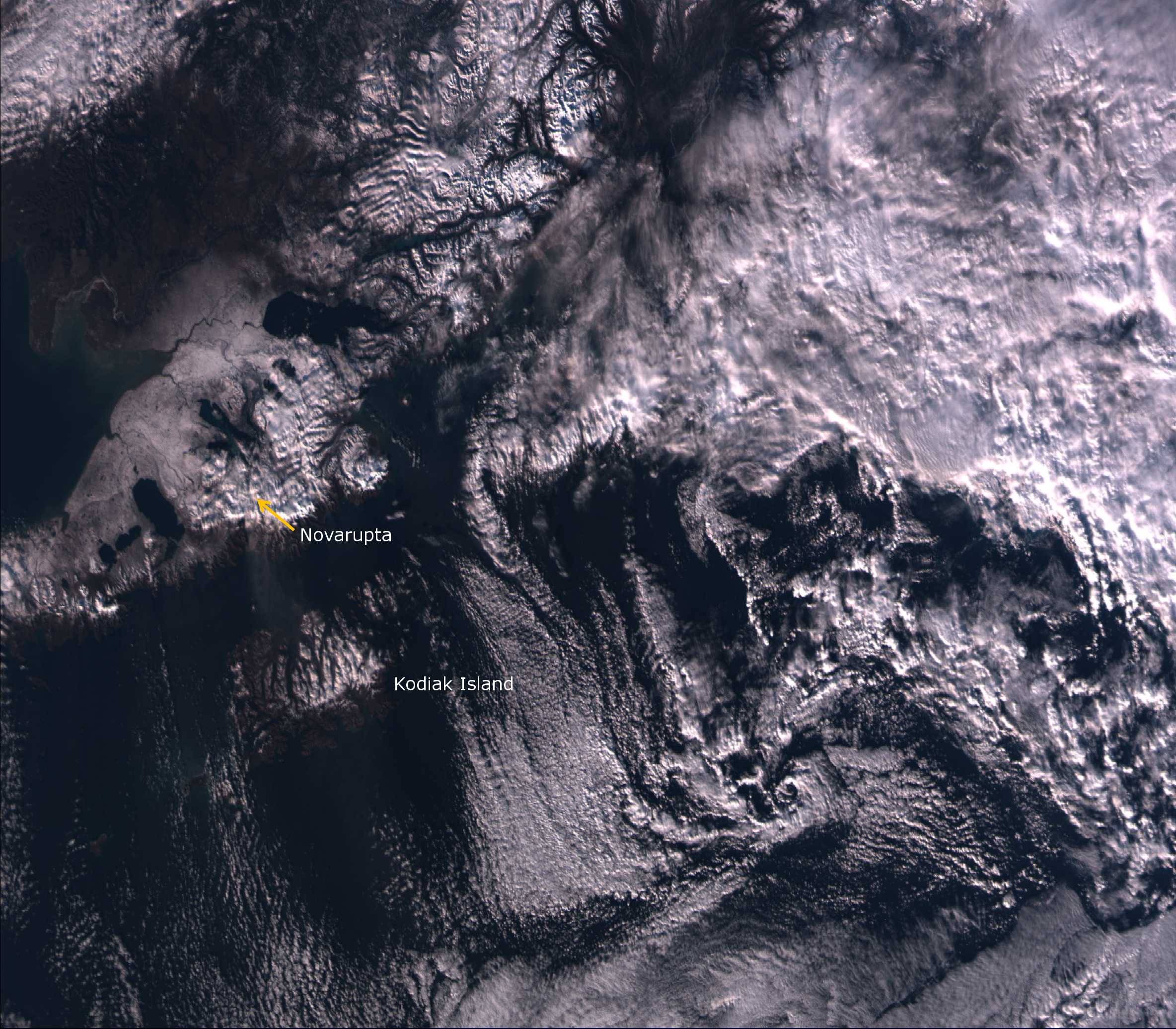 """VIIRS """"true color"""" RGB composite of channels M-03, M-04 and M-05, taken 22:23 UTC 30 October 2012"""