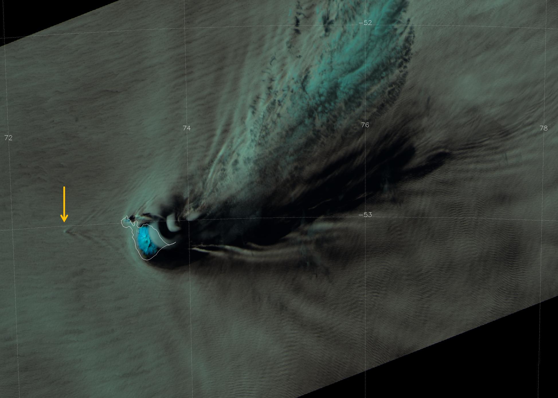 VIIRS false-color RGB composite of channels I-01, I-02 and I-03 taken 09:16 UTC 27 October 2012