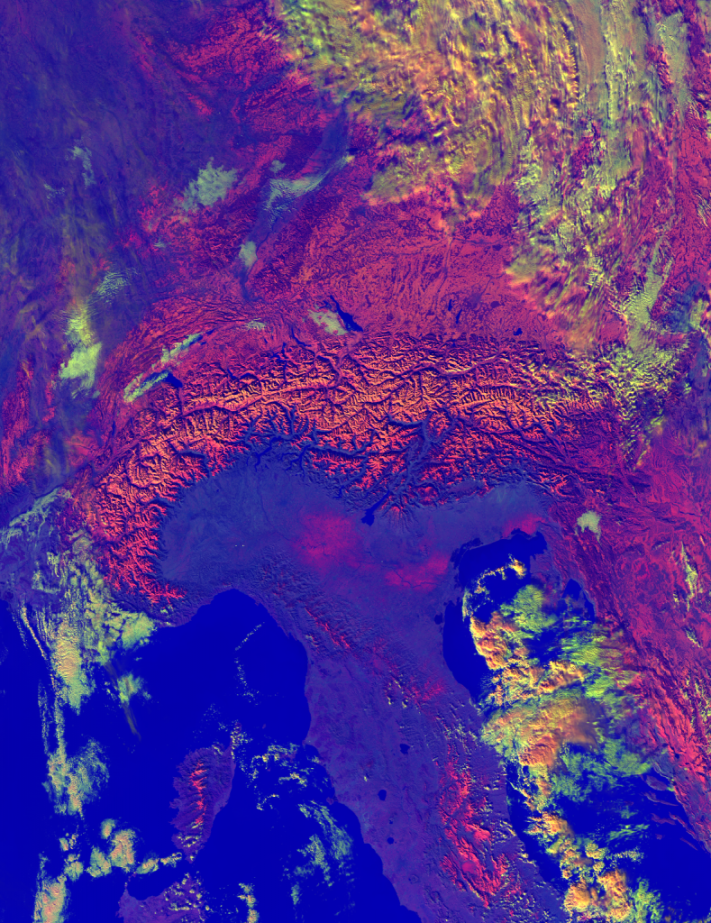 "VIIRS ""Daytime Microphysics"" RGB composite of the Alps, taken 12:03 UTC 12 December 2012"