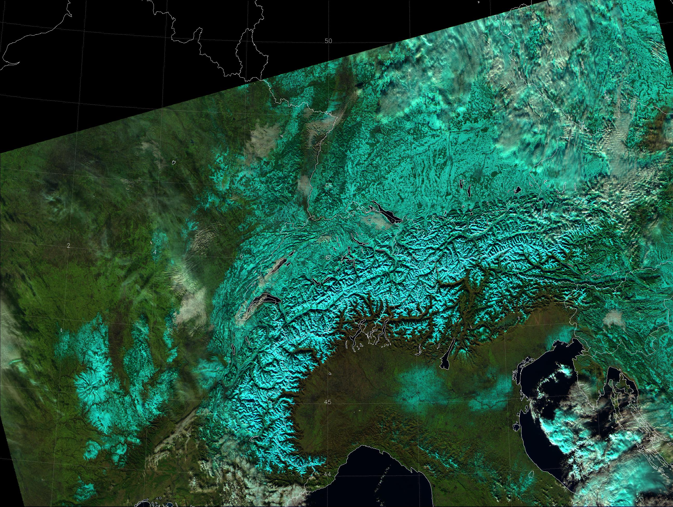 "VIIRS ""Natural Color"" RGB composite of channels I-01, I-02 and I-03, taken 12:03 UTC 12 December 2012"