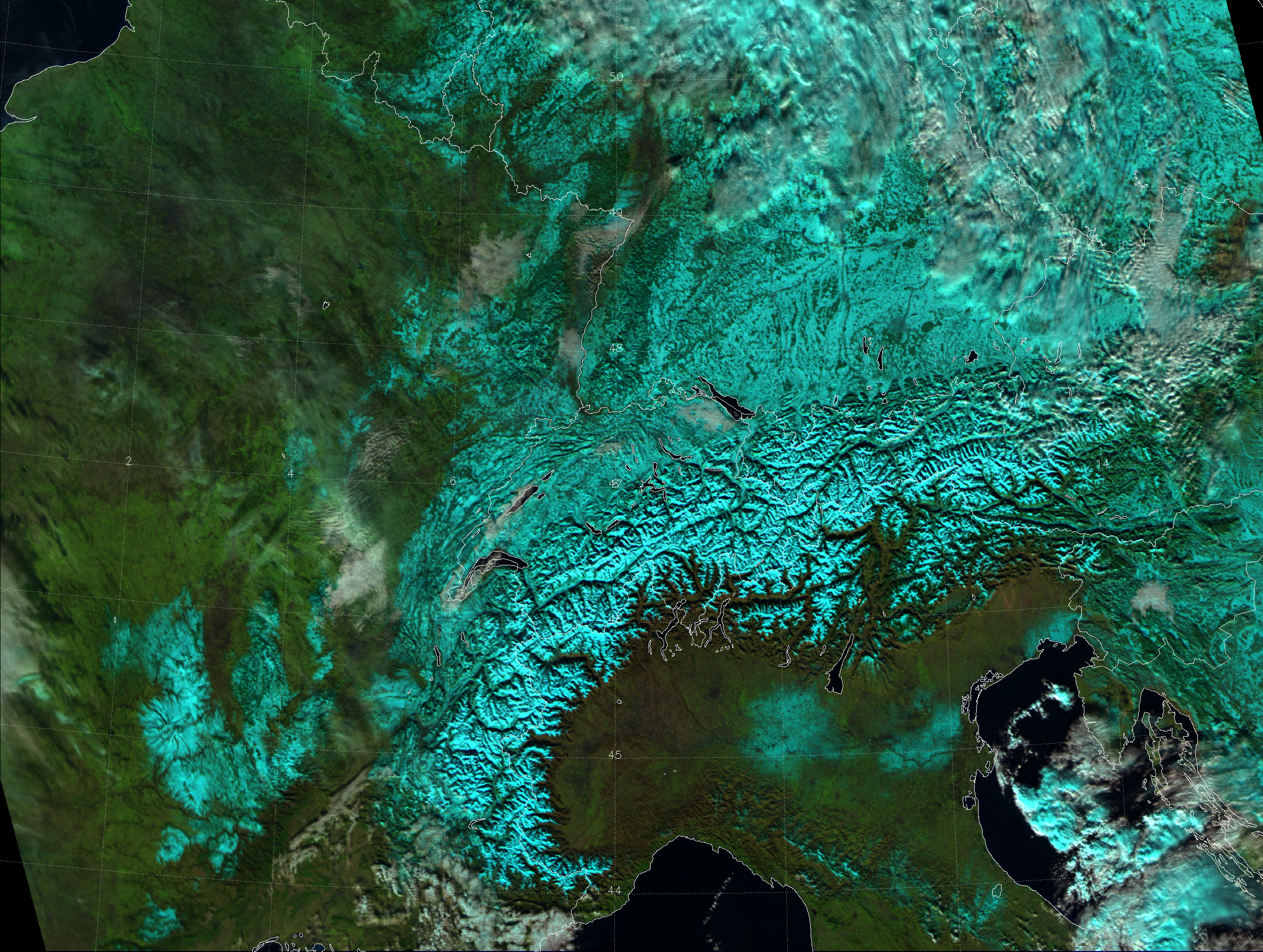 "VIIRS ""Natural Color"" RGB of central Europe, taken 12:03 UTC 12 December 2012"