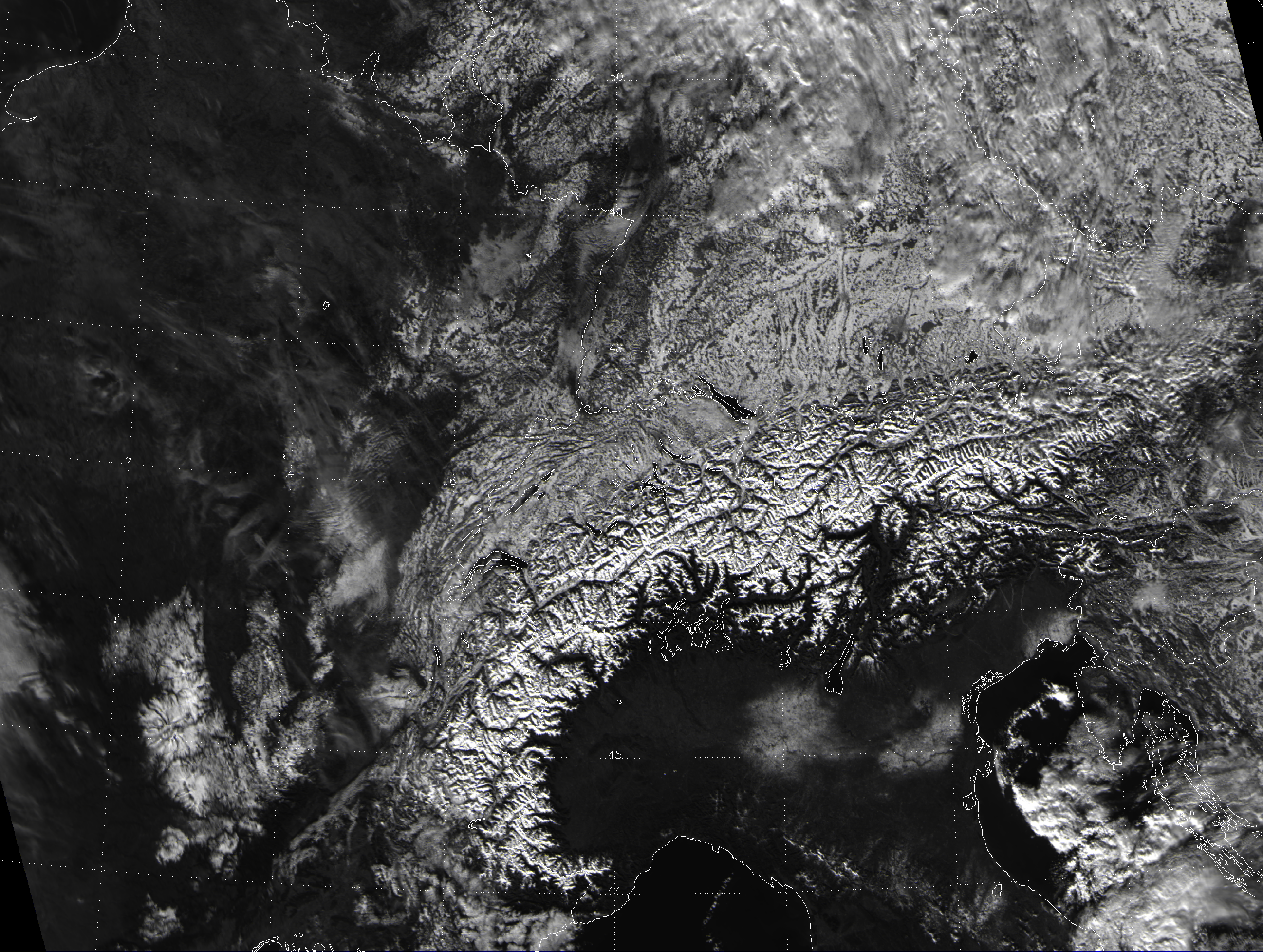 VIIRS visible image of central Europe, taken 12:03 UTC 12 December 2012