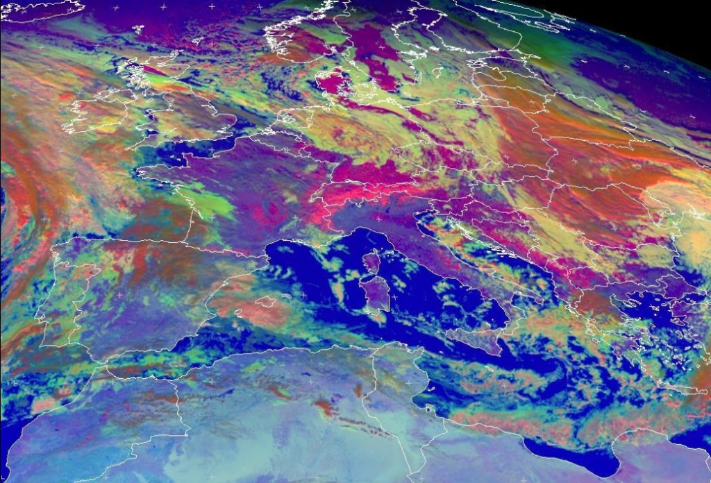 "Meteosat-9 ""Daytime Microphysics"" RGB composite of central Europe, taken 12:00 UTC 12 December 2012"