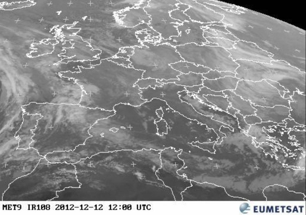 Meteosat-9 IR-window image of central Europe, taken 12:00 UTC 12 December 2012