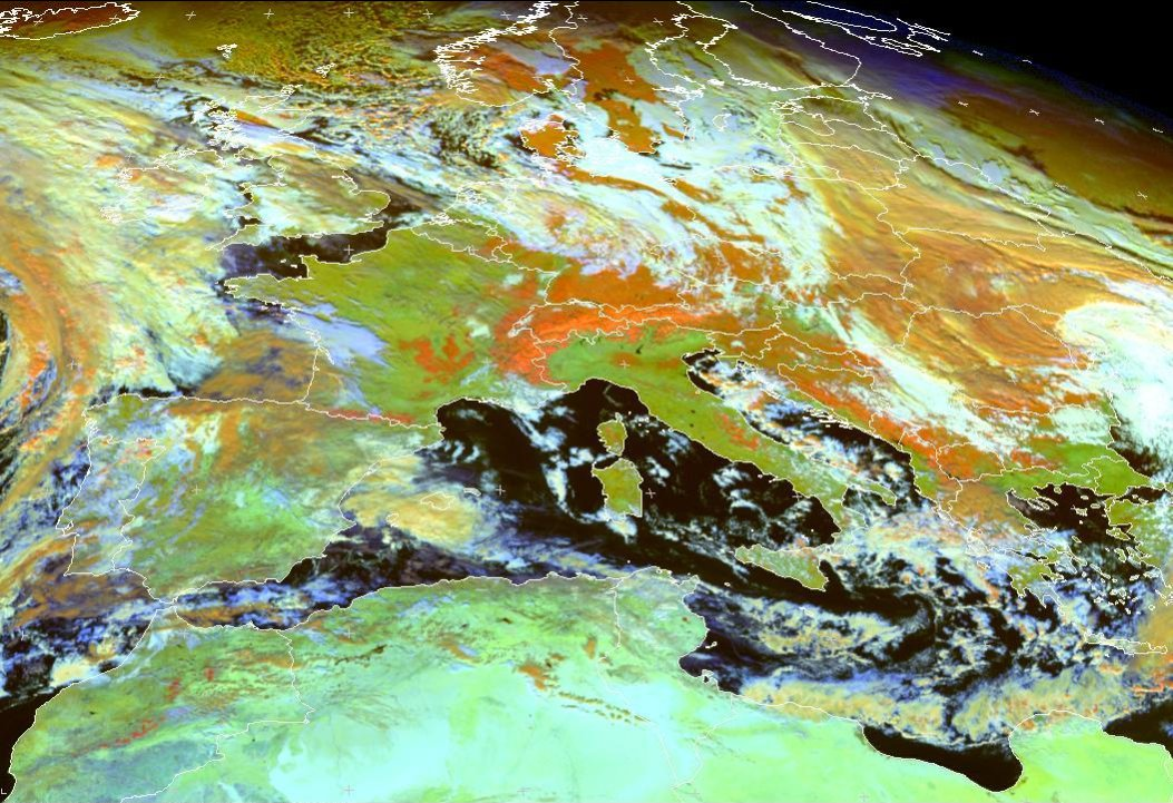 "Meteosat-9 ""Snow"" RGB composite of central Europe, taken 12:00 UTC 12 December 2012"