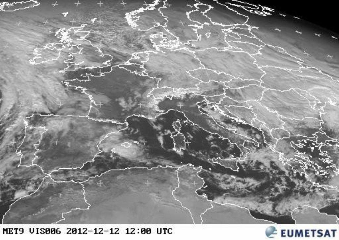 Meteosat-9 visible image of central Europe, taken 12:00 UTC 12 December 2012