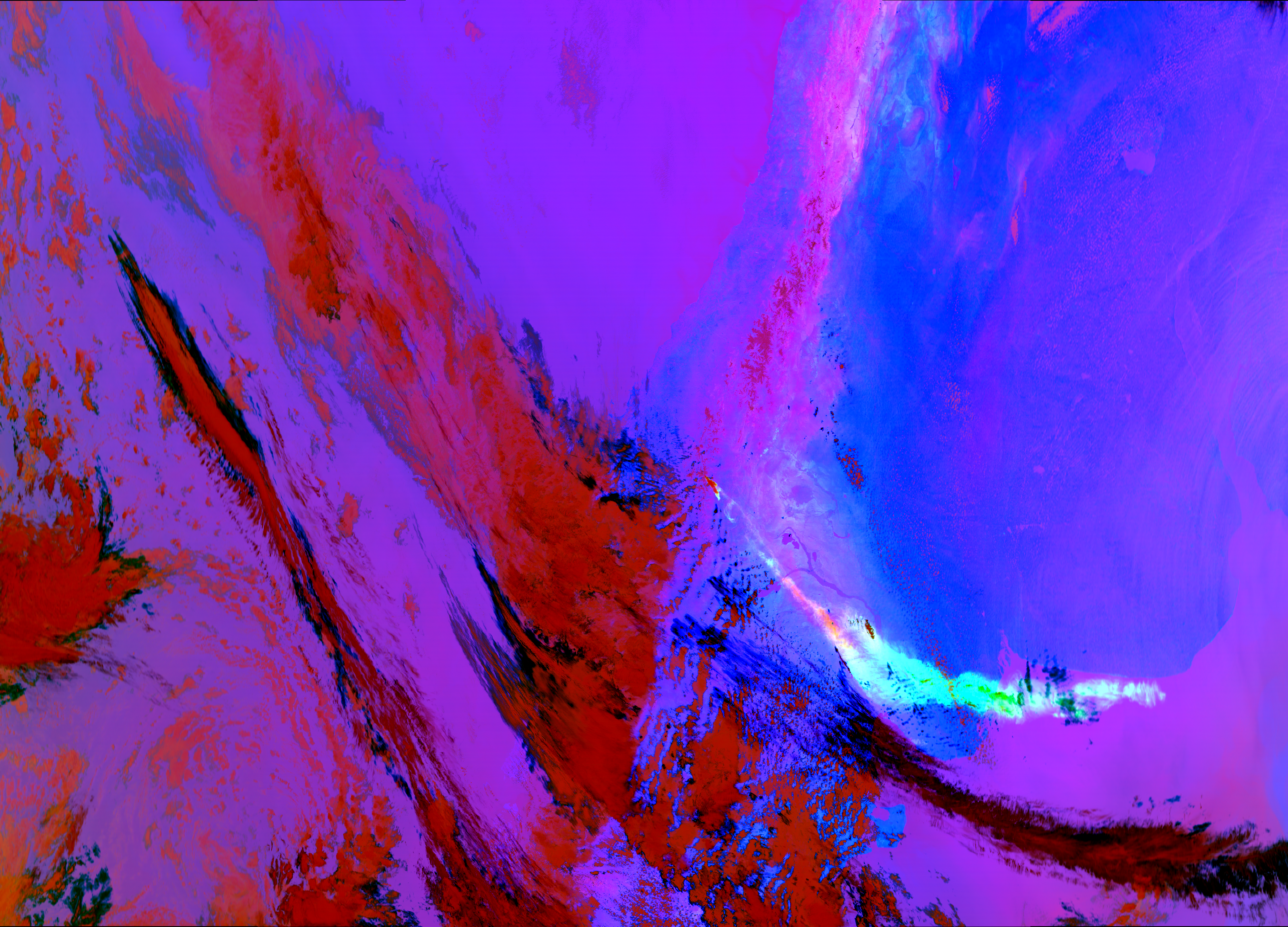 EUMETSAT's Dust RGB composite applied to VIIRS from 18:38 UTC 22 December 2012