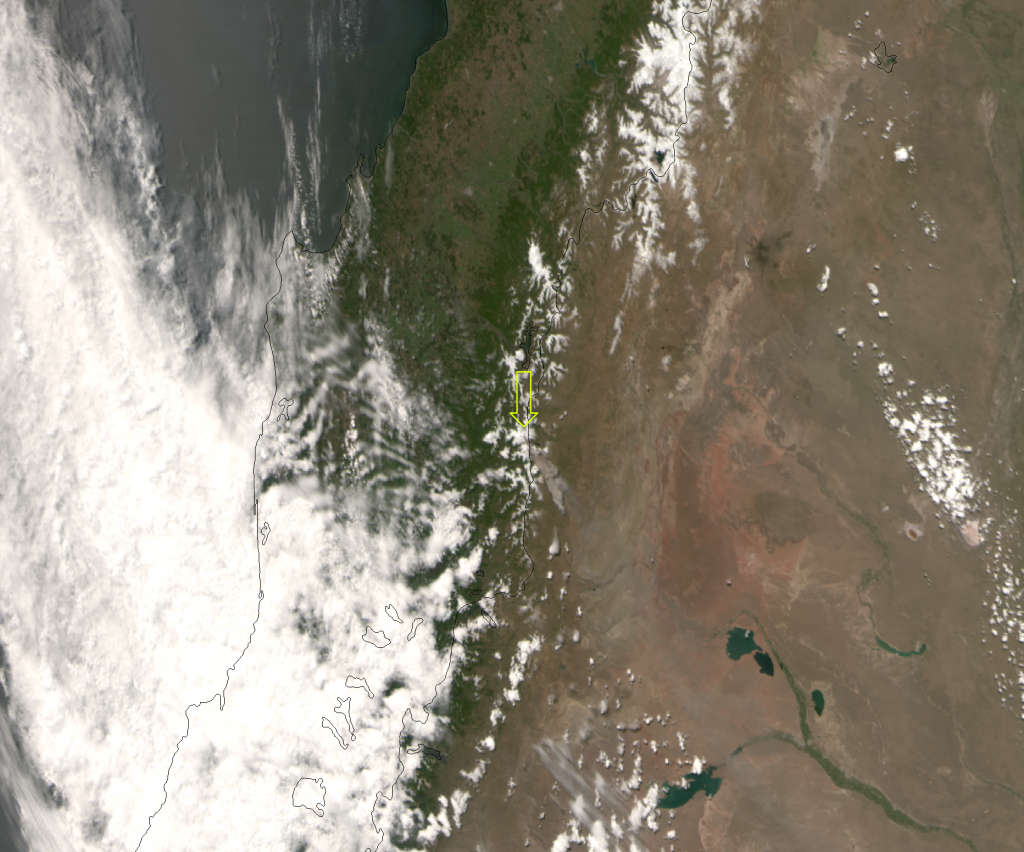 "VIIRS ""true color"" RGB composite of the Copahue volcano, taken 18:38 UTC 22 December 2012"