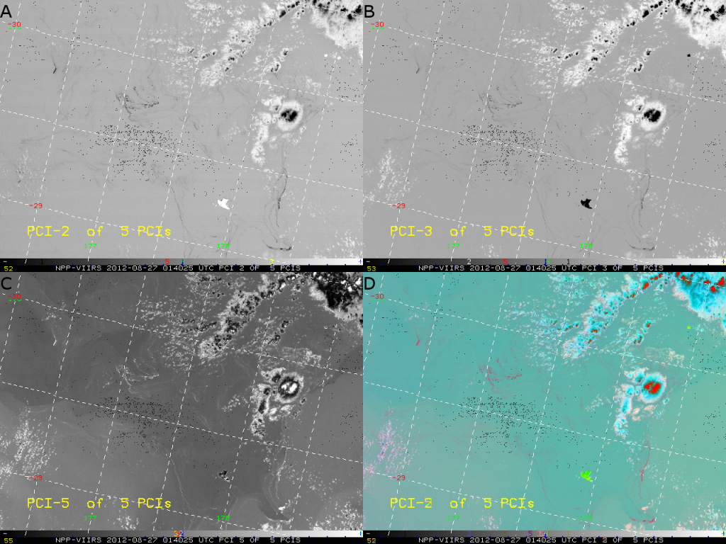 PCI Analysis of the 5 VIIRS I-band channels from 01:40 UTC 27 August 2012