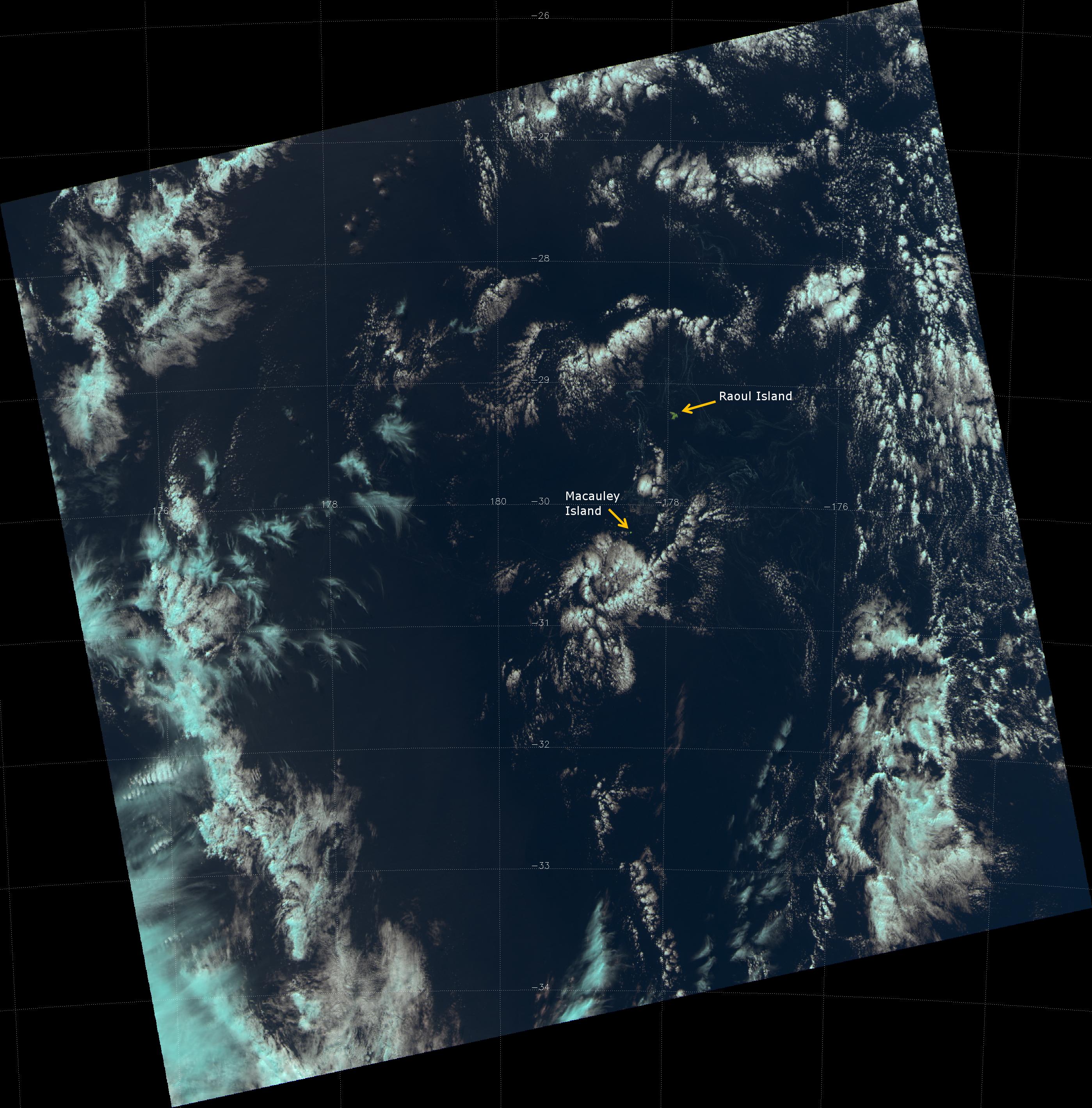 False color RGB composite of VIIRS channels I-01, I-02 and I-03, taken 01:40 UTC 27 August 2012