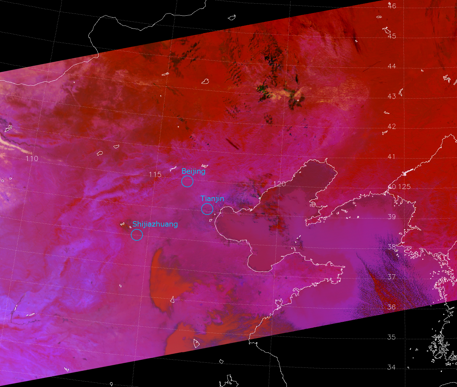 The EUMESAT Dust RGB applied to VIIRS, valid 04:32 UTC 26 January 2013