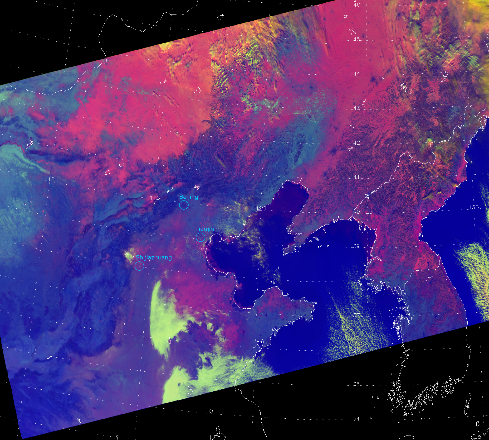 The EUMETSAT Daytime Microphysics RGB applied to VIIRS, valid 04:32 UTC 26 January 2013