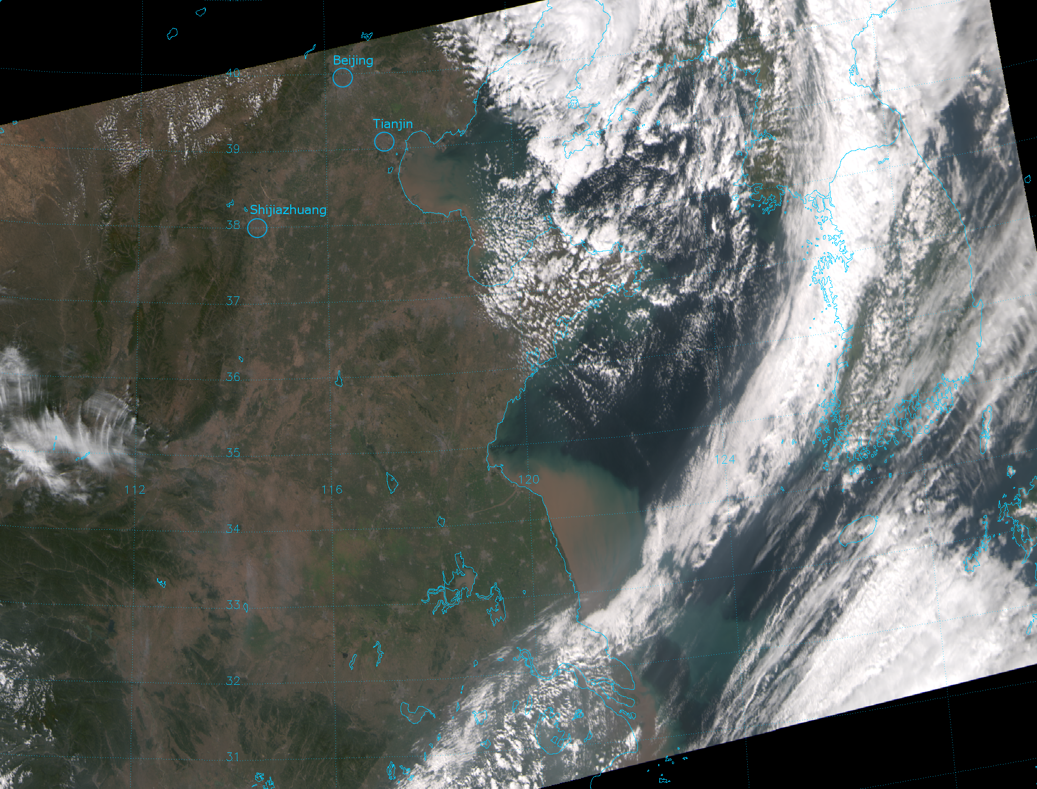 """VIIRS """"true color"""" RGB composite of channels M-03, M-04 and M-05, taken 05:21 UTC 28 September 2012"""