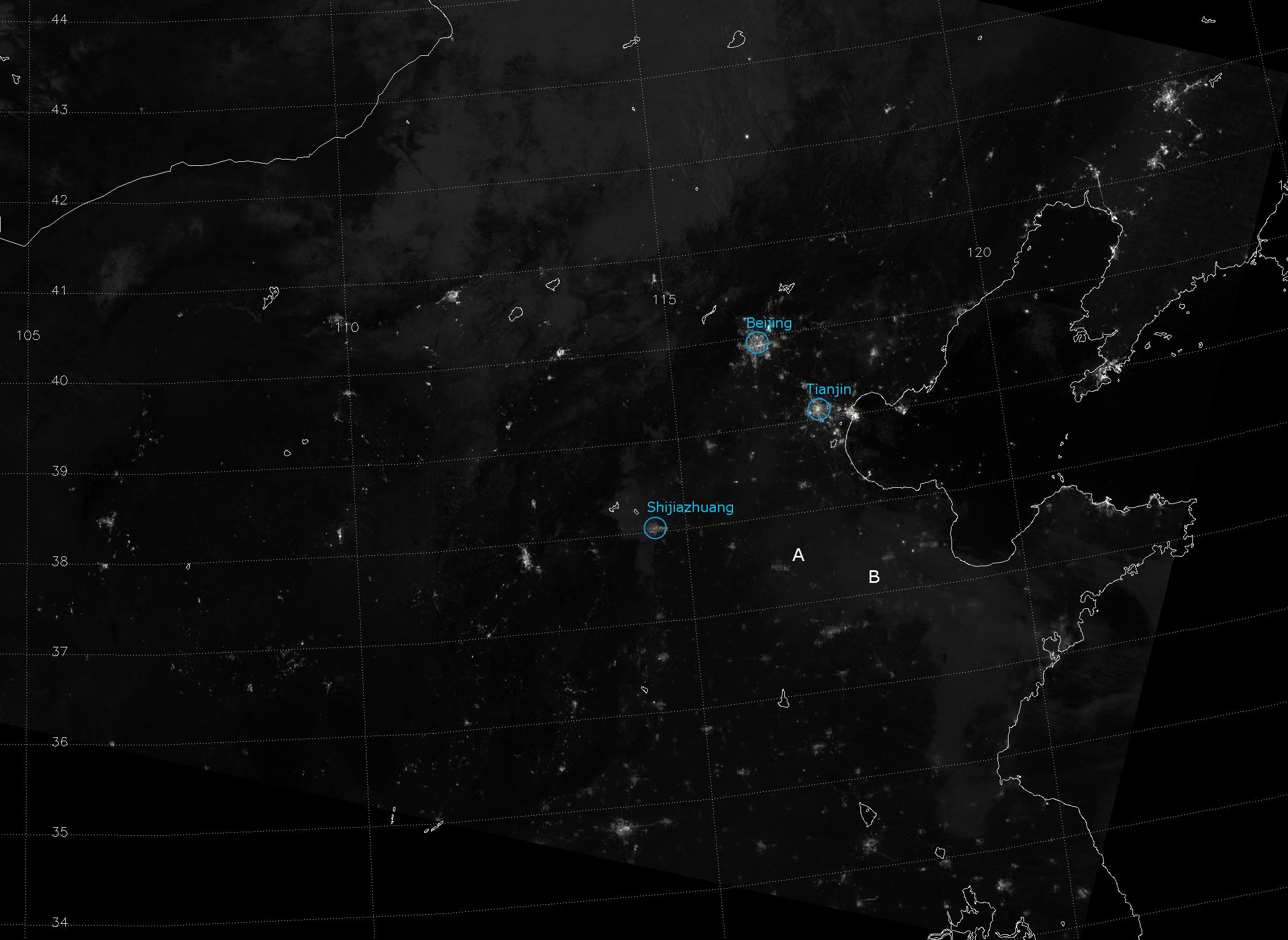 VIIRS Day/Night Band image of eastern China, taken 18:50 UTC 25 January 2013