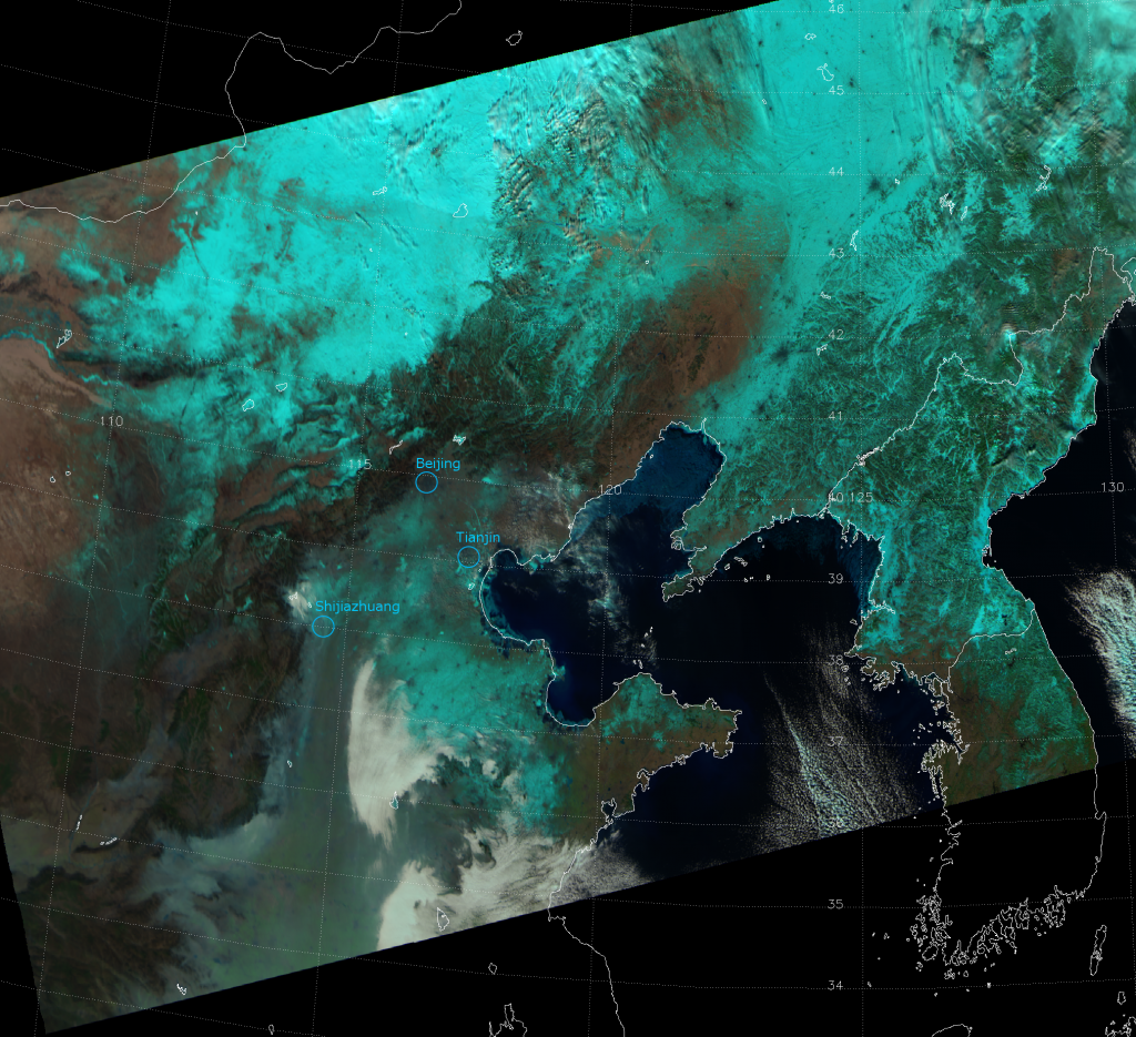 "VIIRS false color RGB composite of channels M-05, M-07 and M-10 (a.k.a. ""natural color""), taken 04:32 UTC 26 January 2013"