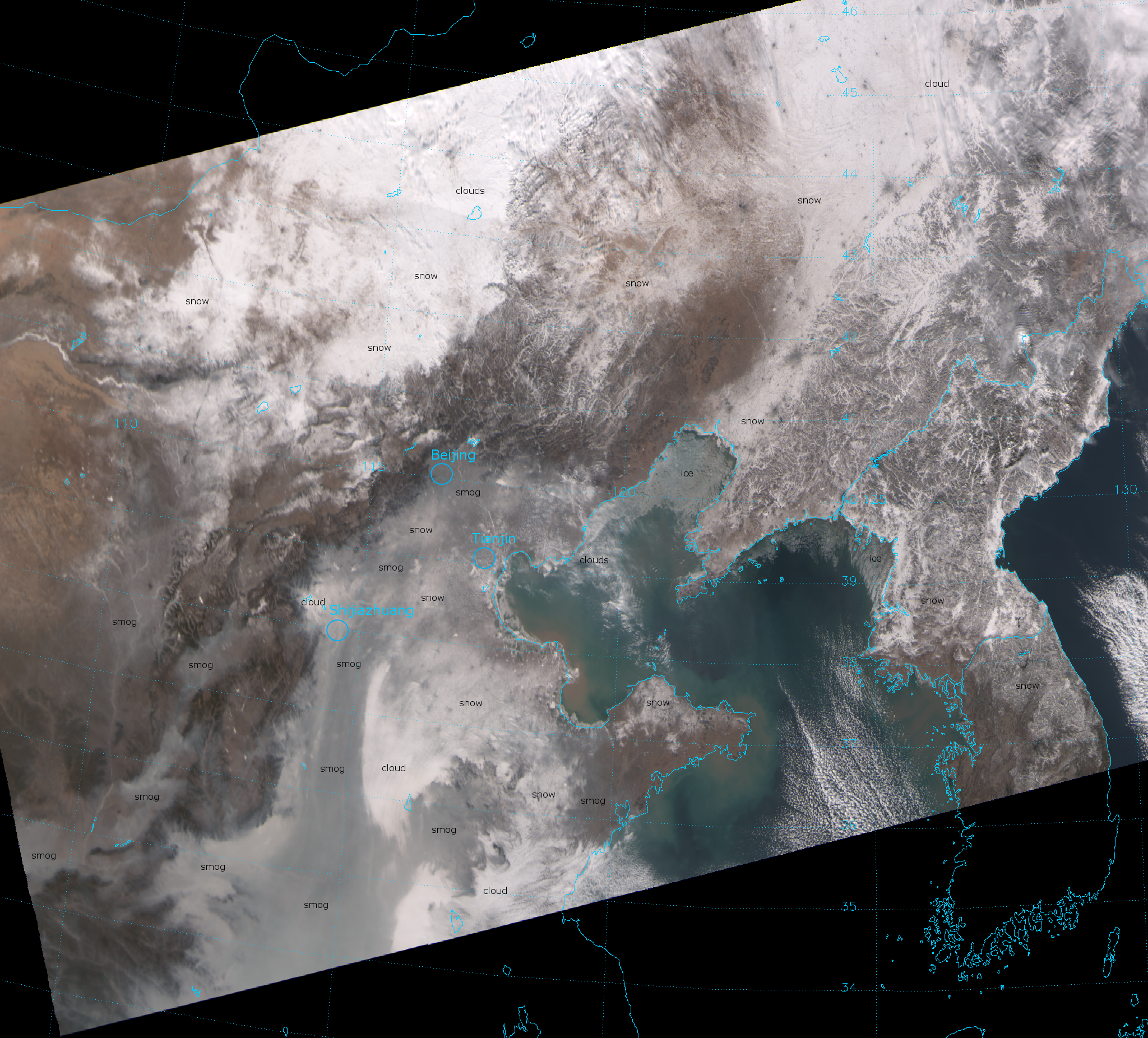 VIIRS true color RGB composite of VIIRS channels M-03, M-04, and M-05, taken 04:32 UTC 26 January 2013