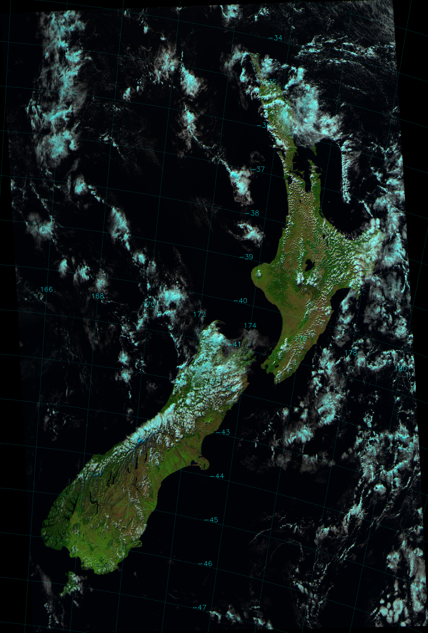 False color composite of VIIRS channels M-05, M-07 and M-10, taken 02:15 UTC 21 March 2012