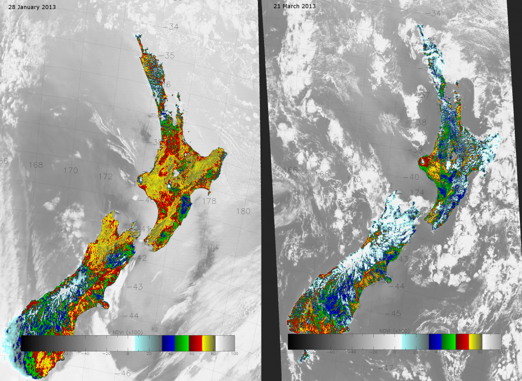 VIIRS NDVI images of New Zealand from 28 January and 21 March 2013