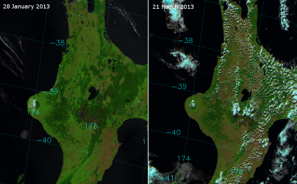 Drought impact on vegetation in the North Island of New Zealand between 28 January and 21 March 2013