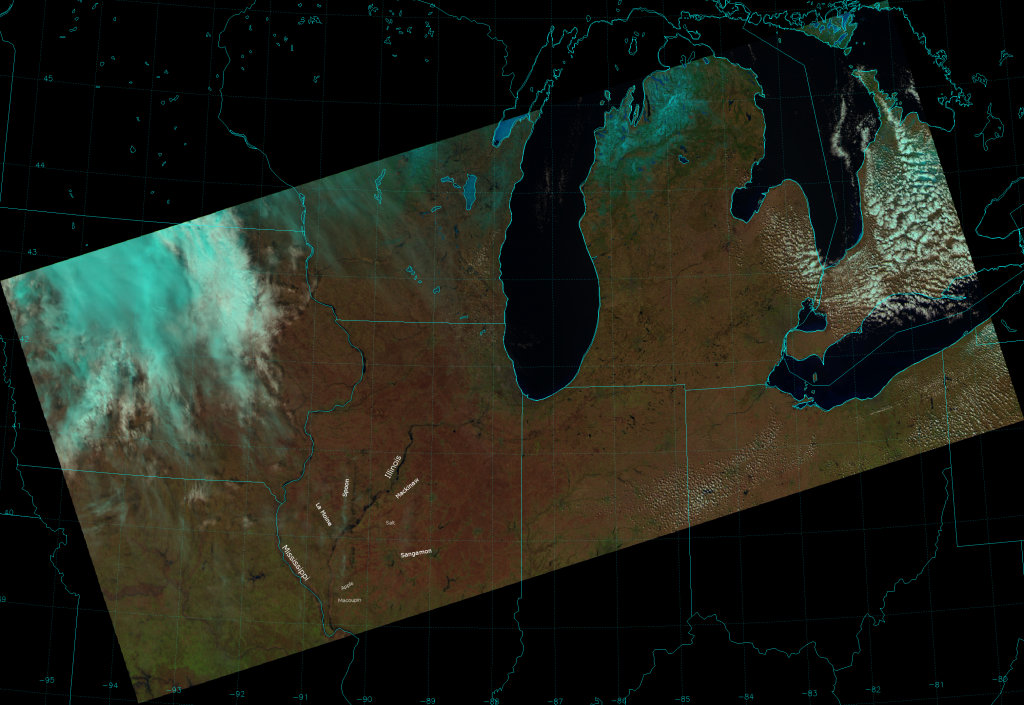 VIIRS false color composite of channels I-01, I-02 and I-03, taken 18:13 UTC 5 April 2013.