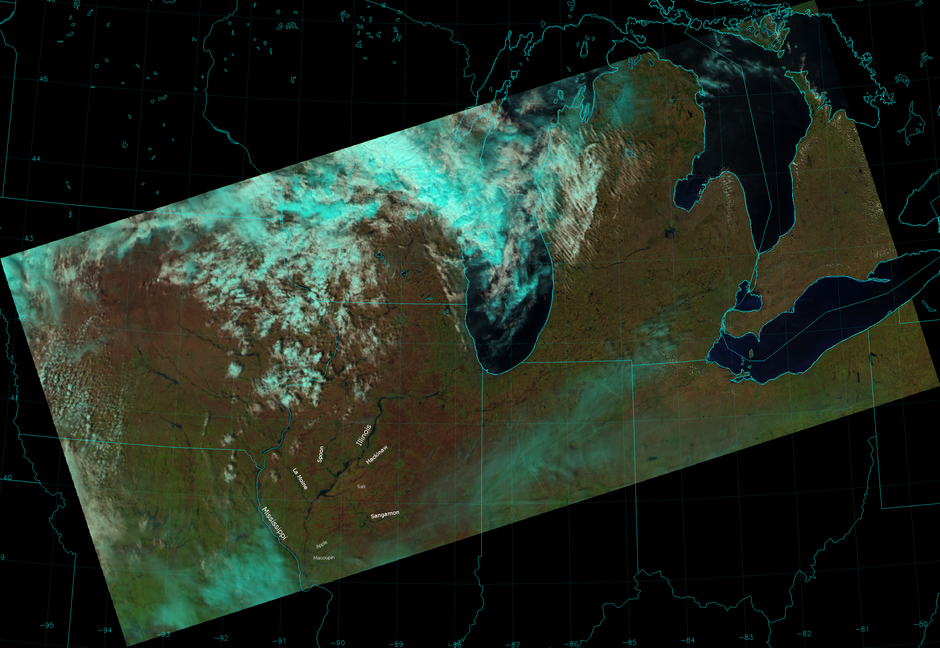 VIIRS false color composite of channels I-01, I-02 and I-03, taken 18:13 UTC 21 April 2013