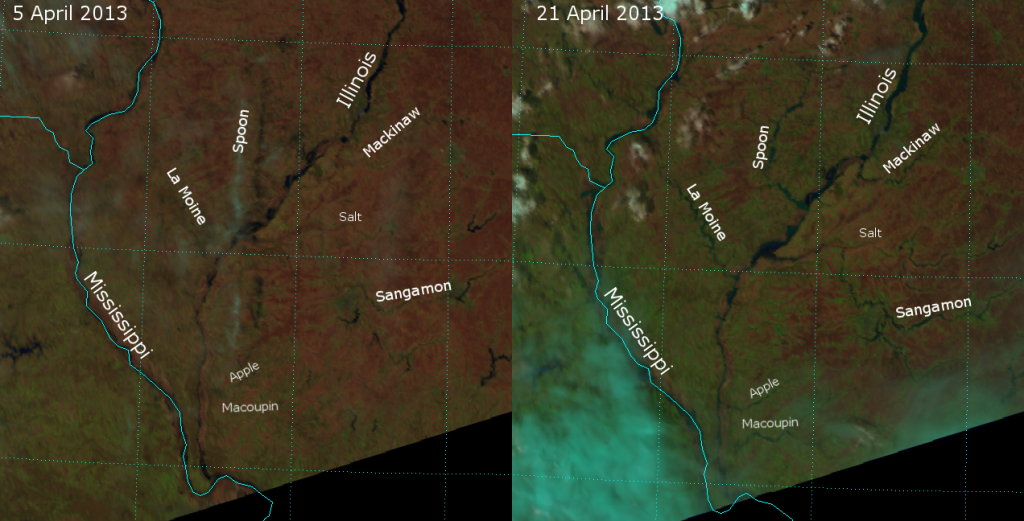False-color RGB composites of VIIRS channels I-01, I-02 and I-03, taken on 5 April 2013 and 21 April 2013