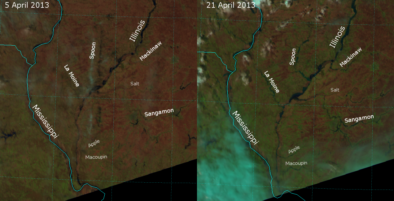 False-color RGB composites of VIIRS channels I-01, I-02 and I-03, taken on 5 April 2013 and 21 April 2013