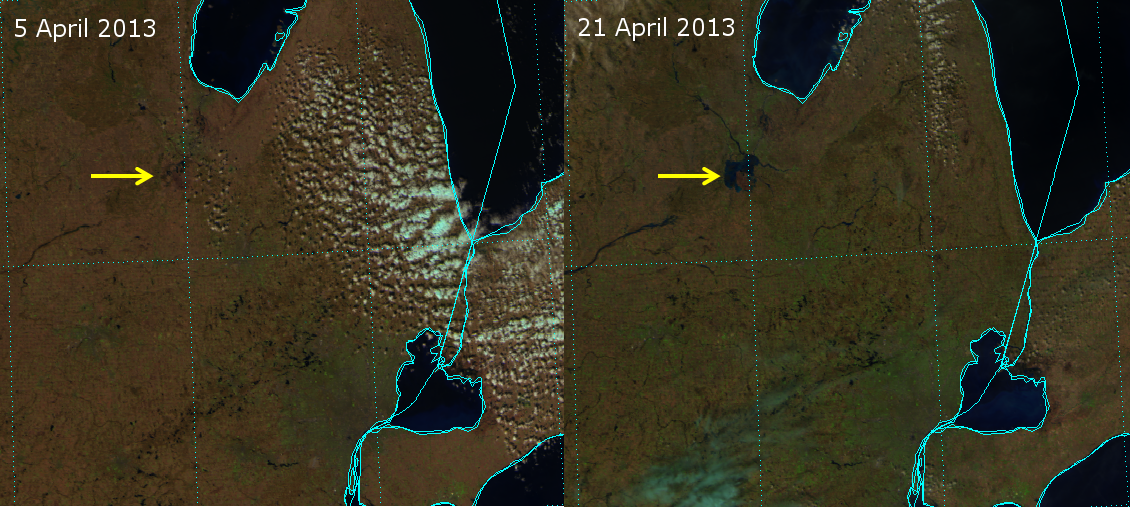 False-color composites of VIIRS channels I-01, I-02 and I-03 from 5 April 2013 and 21 April 2013